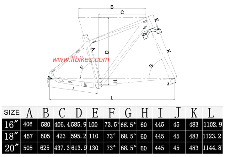 Carbon Fat Bike Frame LTK008 ( Internal Cable Routing )